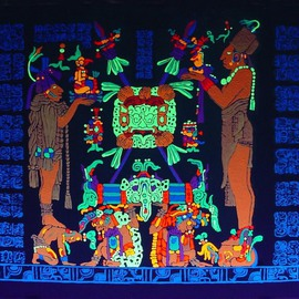 Sigmund Sieminski: 'Mayan panel Temple of the Sun Shield', 2011 Other Painting, Cosmic. Artist Description:     Reproduction of original Mayan sculptural Panel of the Temple of the Sun Shield in black light paint, on masonite.       ...