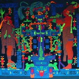 Sigmund Sieminski: 'Palenque panel of the World Tree', 2011 Other Painting, Cosmic. Artist Description:   Reproduction of original Mayan sculptural Panel of the World Tree in black light paint, on masonite.     ...