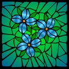 L Gonzalez - Stained Glass Blue Flowers, Botanical
