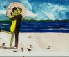 Harry Weisburd - Couple On Beach With Birds, Figurative